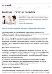 Literatur Leadership - Führen mit Führungskompetenz